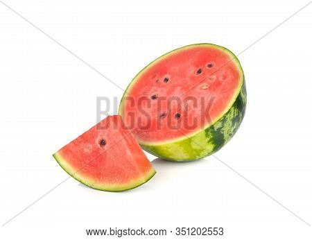 Sliced And Half Cut Ripe Watermelon With Seeds On White Background