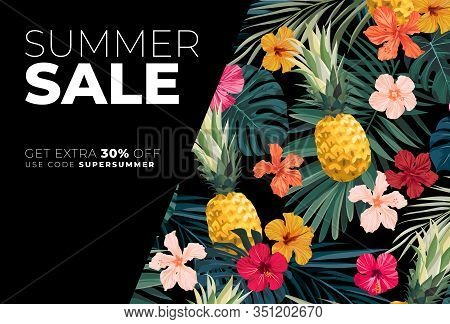 Dark Vector Summer Design With Exotic Palm Leaves, Hibiscus Flowers, Pineapples And Space For Text.