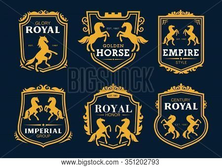 Heraldic Horses And Pegasus Vector Icons For Business Company And Company Identity Signs. Golden Hor