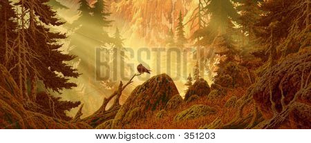 Cascade Mountain Forest With Bird