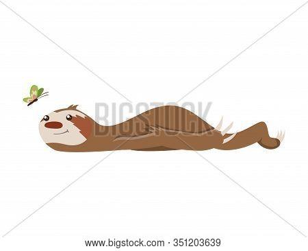 Cute Baby Sloth Lies And Looks At The Butterfly. Adorable Cartoon Animal. Funny Cartoon Sloth Sleepi