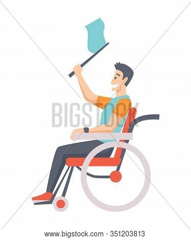 Man On Wheelchair. Portrait Of Middle Age Man In Wheelchair. Man Is Sitting In A Wheelchair On A Whi