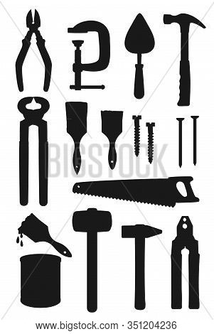 Repair Work Tool Silhouettes, Construction And Building Vector Design. Hammers, Saw And Screwdriver,