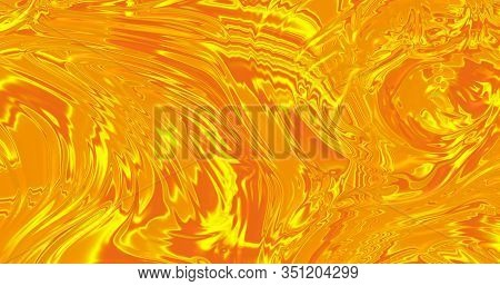 Abstract Gold Liquid. Golden Wave Background. Gold Texture. Lava, Nougat, Caramel, Amber, Honey, Oil