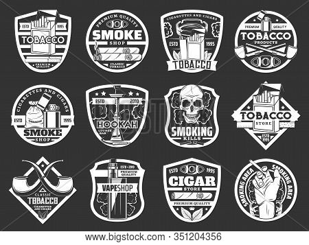 Cigarette And Cigar Badges Of Tobacco And Smoke Shop Vector Design. Cigarette Packs, Lighters And Sm