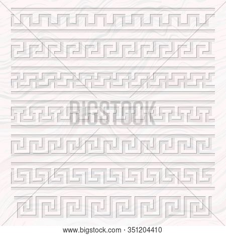 Meander Pattern Overlay On A Marble Background, Ancient Greece Meandros Ornament Of Various Types, T