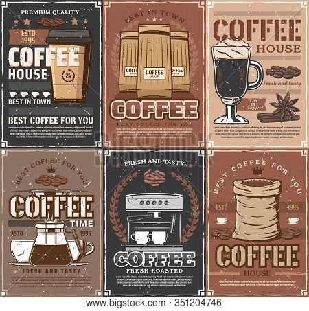 Coffee Cups, Beans And Espresso Machine, Coffee Pot, Takeaway Paper Mug Of Cappucinno Or Latte And V