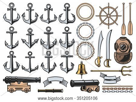 Nautical Icons With Vector Sea Ship Anchors, Ropes And Chains, Sail Boat Helm, Bell And Vintage Dive