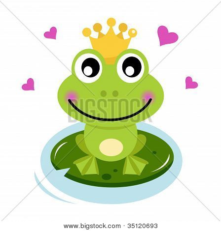Cute Frog Prince With Hearts
