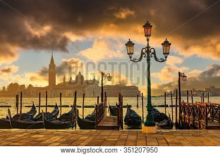 Venice Gondolas On San Marco Square At Sunrise, Venice, Italy. Venice Grand Canal. Architecture And