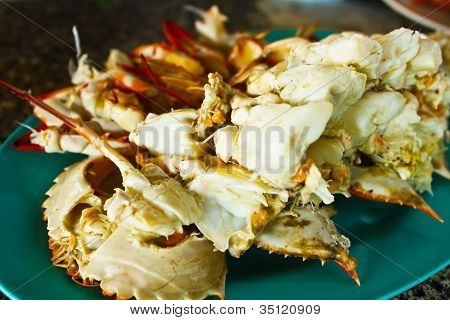 Colorful Grilled Crabs And Thai Style Sauce