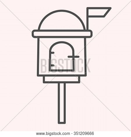 Letterbox Thin Line Icon. Mail Box On Stand With Handle Lock. Postal Service Vector Design Concept,