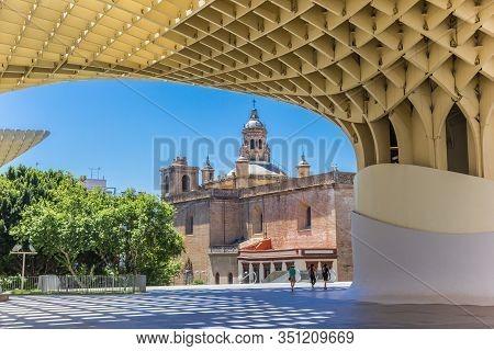 Sevilla, Spain - May 14, 2019: Setas De Sevilla And Anunciacion Church In Sevilla, Spain
