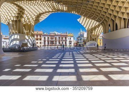 Sevilla, Spain - May 14, 2019: Checkerboard Pattern On The Floor Of The Setas De Sevilla In Spain