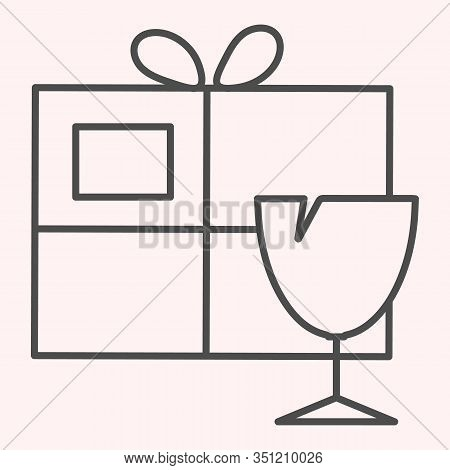 Fragile Box Thin Line Icon. Fragile Cargo Package With Glassware. Postal Service Vector Design Conce