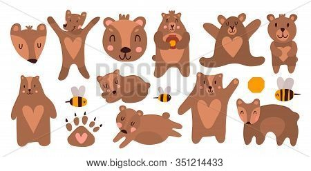 Funny Bears In Different Poses. Cute Animals Love Honey And Are Friends With Bees. Cartoon Bear For