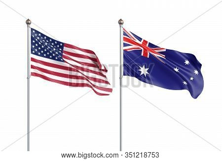 Two Waving Flags. United States Of America Flag, Isolated On White. 3d Illustration.