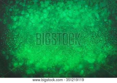 Abstract Green Glitter Bokeh Background For St Patricks Day Holiday Patricks Festive Background