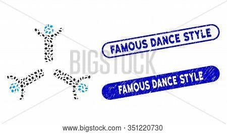 Mosaic Hands Up Men And Corroded Stamp Seals With Famous Dance Style Phrase. Mosaic Vector Hands Up