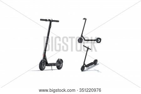 Blank Black Electric Scooter Mock Up, Different Views, 3d Rendering. Empty Two-wheeled Scoter Mockup