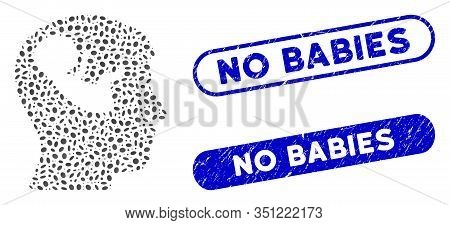 Mosaic Embryo Mind Head And Rubber Stamp Seals With No Babies Text. Mosaic Vector Embryo Mind Head I