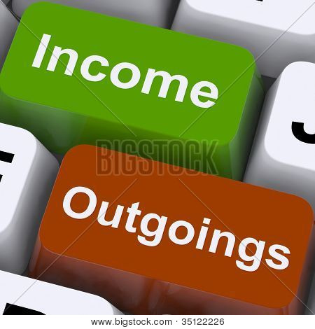 Income Outgoings Keys Show Budgeting And Bookkeeping