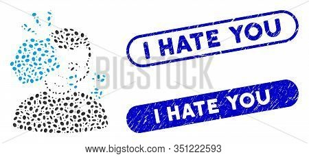 Mosaic Head Strike And Rubber Stamp Seals With I Hate You Caption. Mosaic Vector Head Strike Is Crea