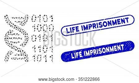 Collage Genome And Corroded Stamp Seals With Life Imprisonment Text. Mosaic Vector Genome Is Designe