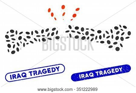 Mosaic Broken Bone And Corroded Stamp Seals With Iraq Tragedy Text. Mosaic Vector Broken Bone Is Com