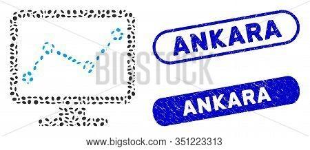 Mosaic Chart Monitoring And Distressed Stamp Seals With Ankara Phrase. Mosaic Vector Chart Monitorin