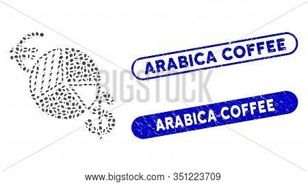 Mosaic Currency Pie Chart And Grunge Stamp Seals With Arabica Coffee Phrase. Mosaic Vector Currency