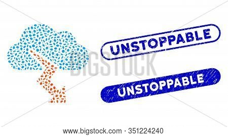 Mosaic Thunderstorm And Corroded Stamp Watermarks With Unstoppable Phrase. Mosaic Vector Thunderstor