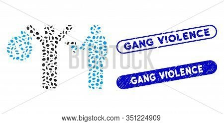 Mosaic Thief Arrest And Distressed Stamp Seals With Gang Violence Phrase. Mosaic Vector Thief Arrest