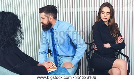 Couple With Problem At Psychologist Office - People, Relationship Difficulties And Family Therapy Co