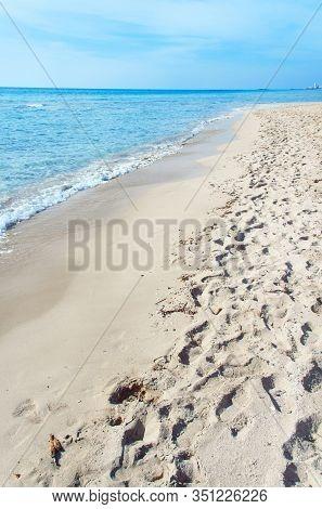 Beach Near Torre San Giovanni Between Gallipoli And Leuca, Salento, Apulia, Italy.