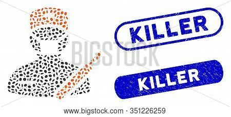 Mosaic Surgeon And Grunge Stamp Seals With Killer Phrase. Mosaic Vector Surgeon Is Designed With Ran