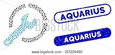 Mosaic Configure Spanner And Rubber Stamp Seals With Aquarius Caption. Mosaic Vector Configure Spann