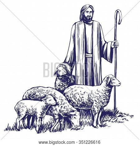 Son Of God, The Lord Is My Shepherd, Jesus Christ With A Flock Of Sheep, Symbol Of Christianity Hand