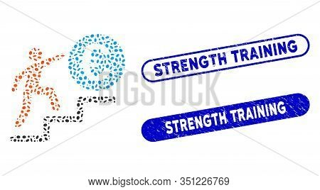 Mosaic Person Steps To Euro And Corroded Stamp Seals With Strength Training Caption. Mosaic Vector P