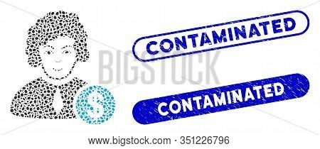 Mosaic Corrupt Judge And Distressed Stamp Seals With Contaminated Caption. Mosaic Vector Corrupt Jud