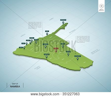 Stylized Map Of Namibia. Isometric 3d Green Map With Cities, Borders, Capital Windhoek, Regions. Vec