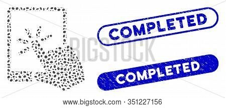 Mosaic Tablet Click And Corroded Stamp Seals With Completed Phrase. Mosaic Vector Tablet Click Is De