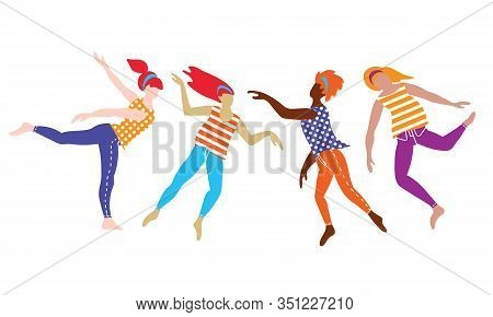 Group Of Young International Women Dancing In Free Spontaneous Way. Flat Vector Illustration.