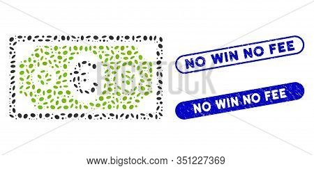 Mosaic Euro Banknote And Rubber Stamp Seals With No Win No Fee Text. Mosaic Vector Euro Banknote Is