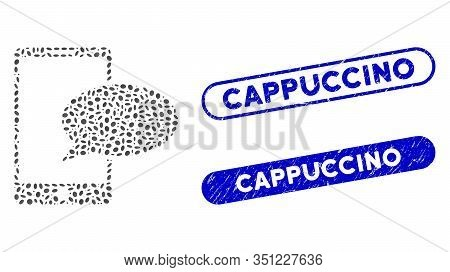 Collage Phone Message And Rubber Stamp Seals With Cappuccino Caption. Mosaic Vector Phone Message Is