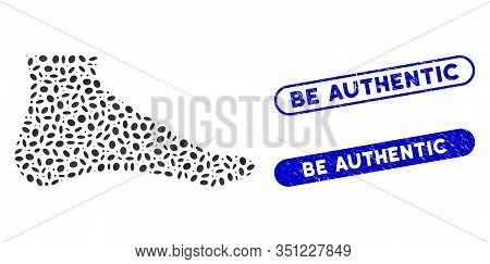 Mosaic Foot And Distressed Stamp Seals With Be Authentic Text. Mosaic Vector Foot Is Created With Ra