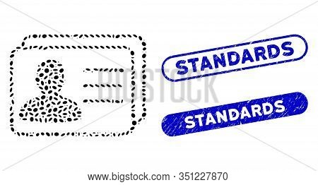 Collage User Cards And Grunge Stamp Seals With Standards Caption. Mosaic Vector User Cards Is Compos