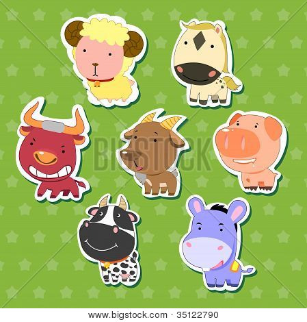 cute animal stickers with sheep bull goat dairy cattle donkey pig and horse. poster