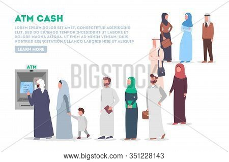Long Queue To Atm. Muslim People Standing In Queue To Atm.