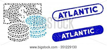 Collage Dollar Cash And Corroded Stamp Seals With Atlantic Phrase. Mosaic Vector Dollar Cash Is Form